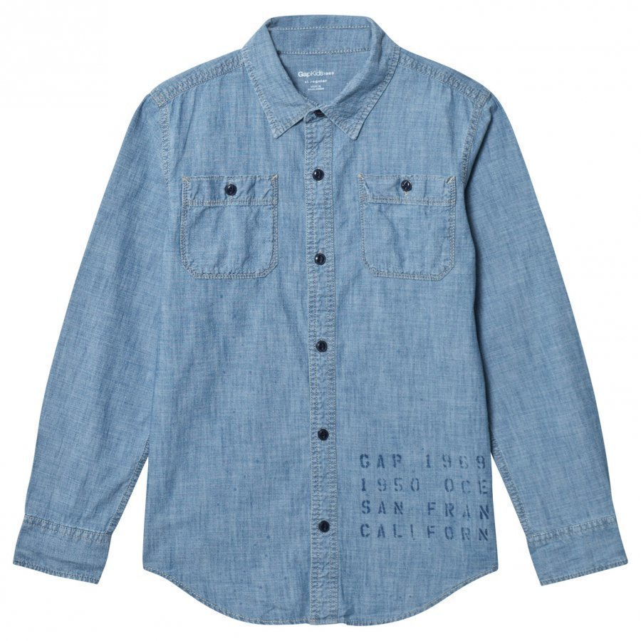 Gap Paint Splatter Chambray Shirt Kauluspaita