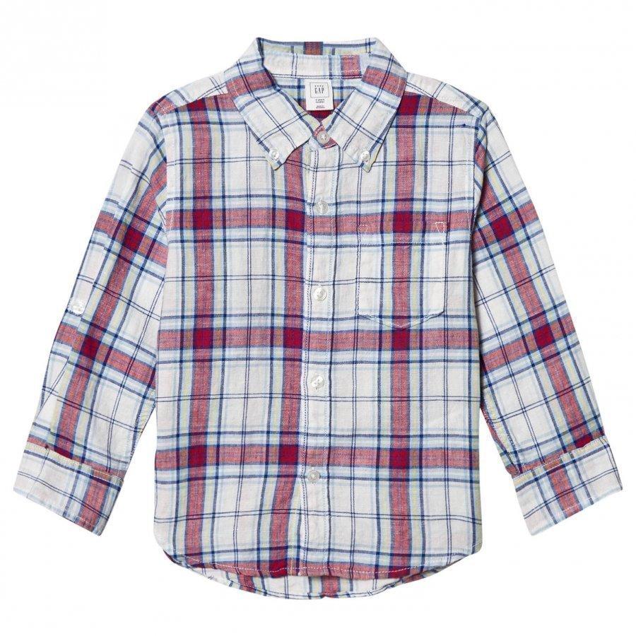 Gap Plaid Linen Blend Convertible Shirt Pitkähihainen T-Paita
