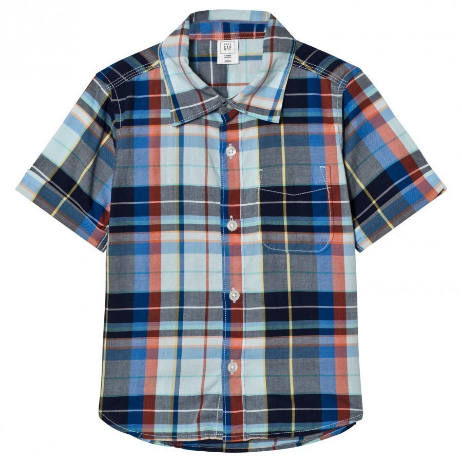 Gap Plaid Short Sleeve Pocket Shirt Kauluspaita