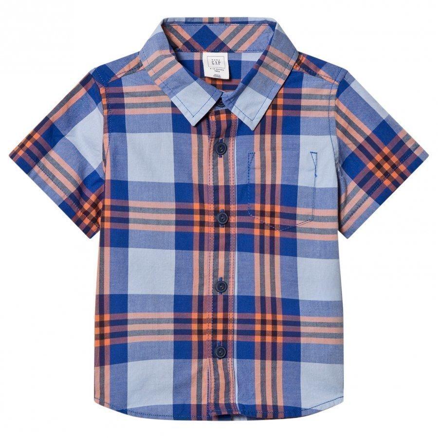 Gap Plaid Short Sleeve Shirt Matisse Blue T-Paita
