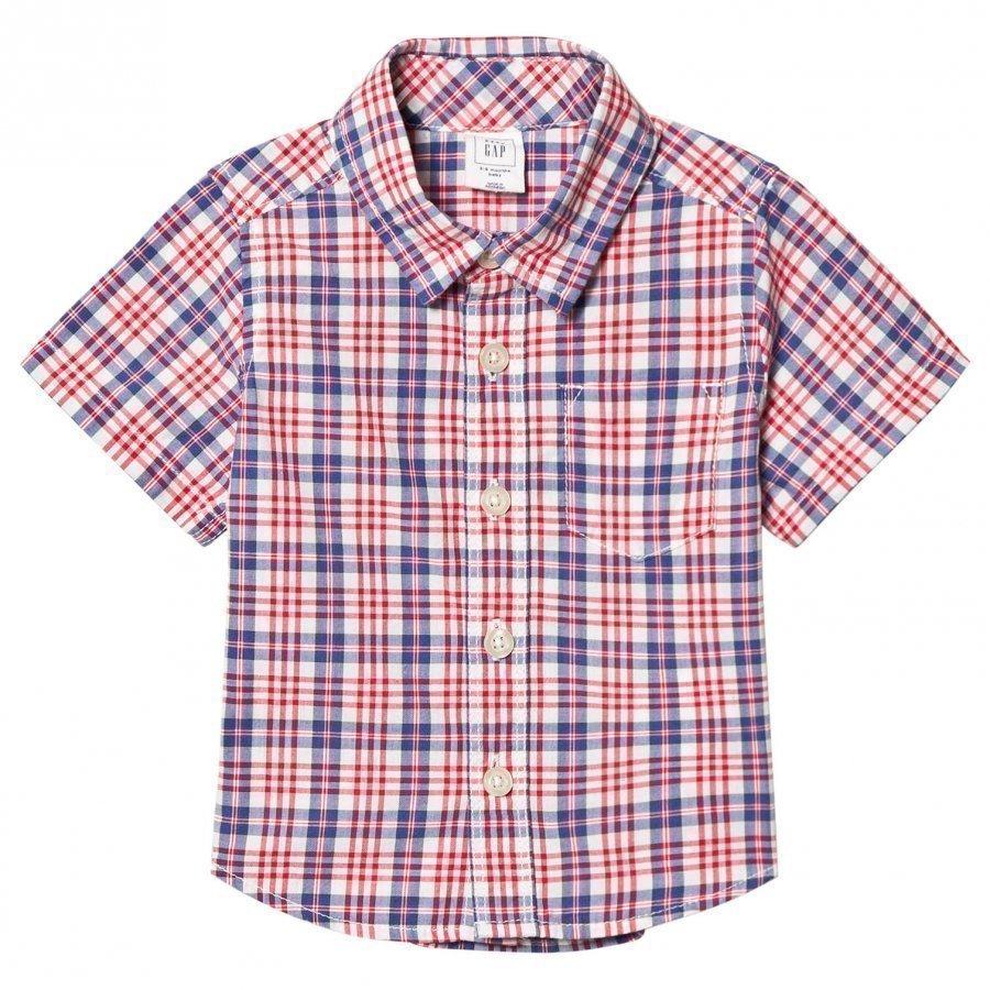 Gap Plaid Short Sleeve Shirt Pepper Red T-Paita