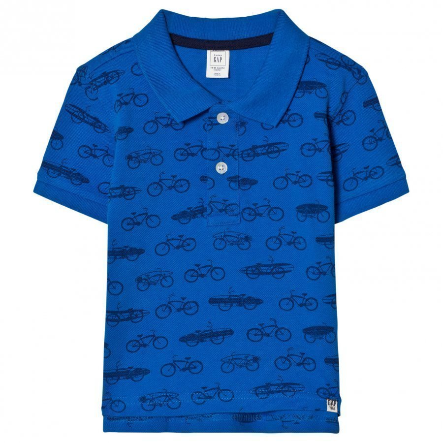 Gap Print Short Sleeve Polo In Brilliant Blue Pikeepaita