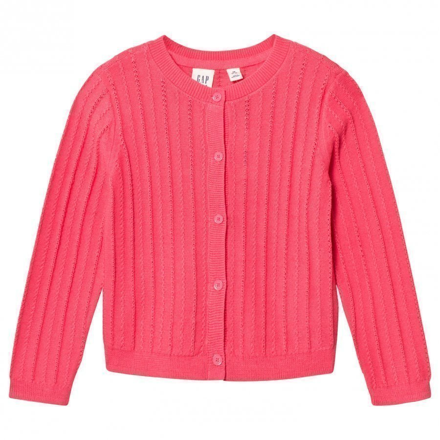 Gap Ribbed Crew Cardigan Pink Pop Neuletakki