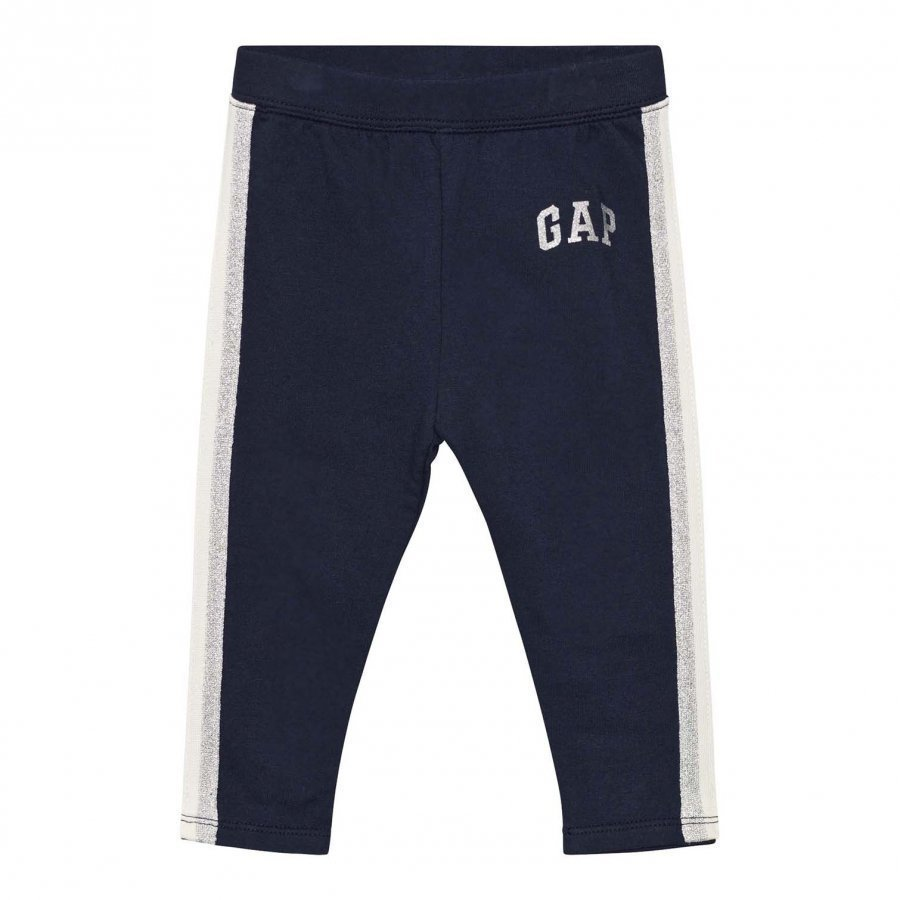 Gap Shimmer Logo Soft Terry Leggings Blue Galaxy Legginsit