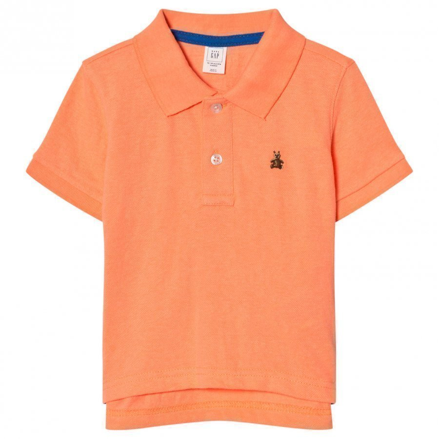 Gap Short Sleeve Pique Polo In Jos Orange Pikeepaita