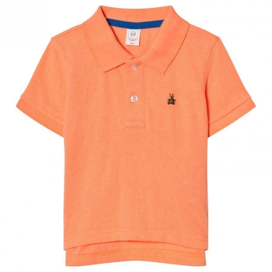 Gap Short Sleeve Pique Polo In Jos Orange Pikeepaita