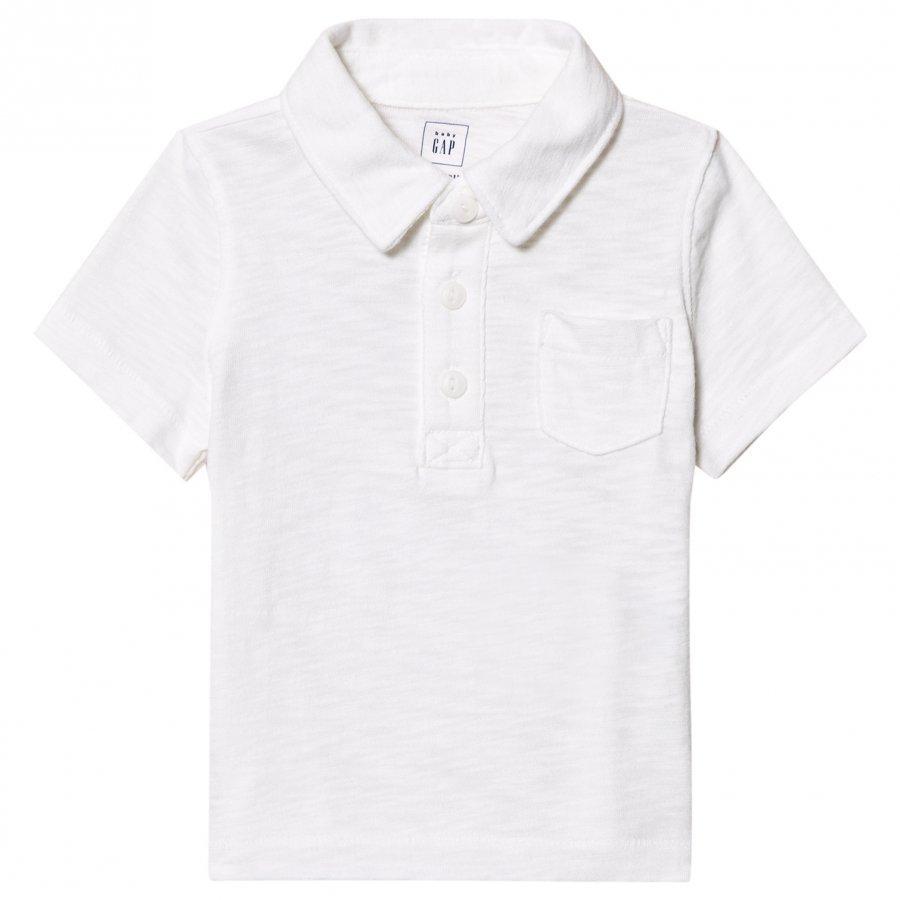 Gap Short Sleeve Slub Polo White Pikeepaita