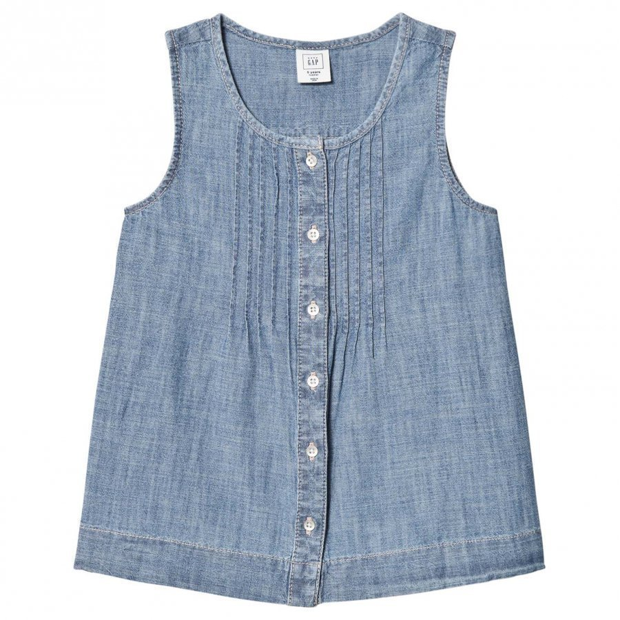 Gap Sleeveless Pintuck Denim Shirt Light Wash Kauluspaita