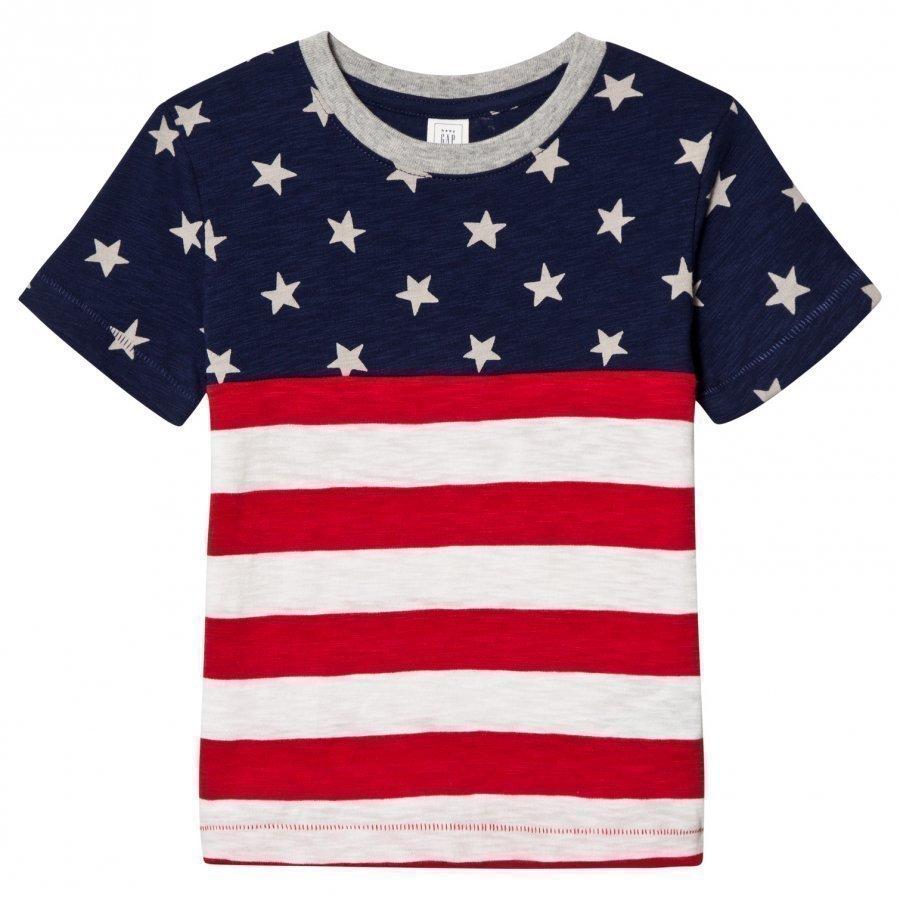 Gap Stars And Stripes Slub Tee Elysian Blue T-Paita