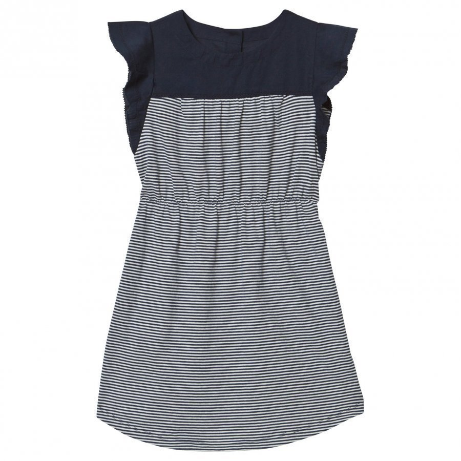 Gap Stripe Mix-Fabric Flutter Dress Blue Galaxy Mekko