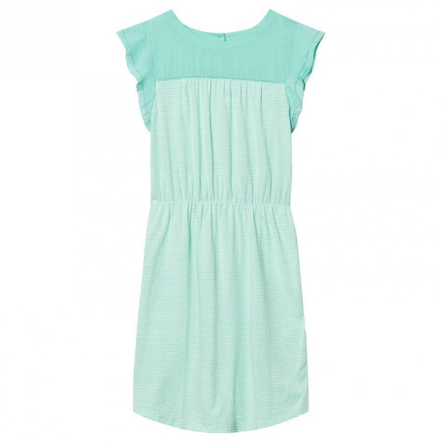 Gap Stripe Mix-Fabric Flutter Dress Teal Stripe Mekko