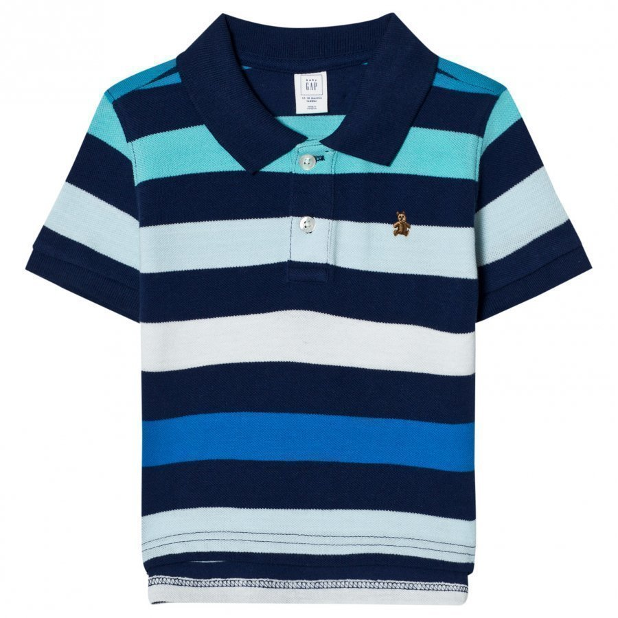 Gap Stripe Short Sleeve Polo In Elysian Blue Pikeepaita