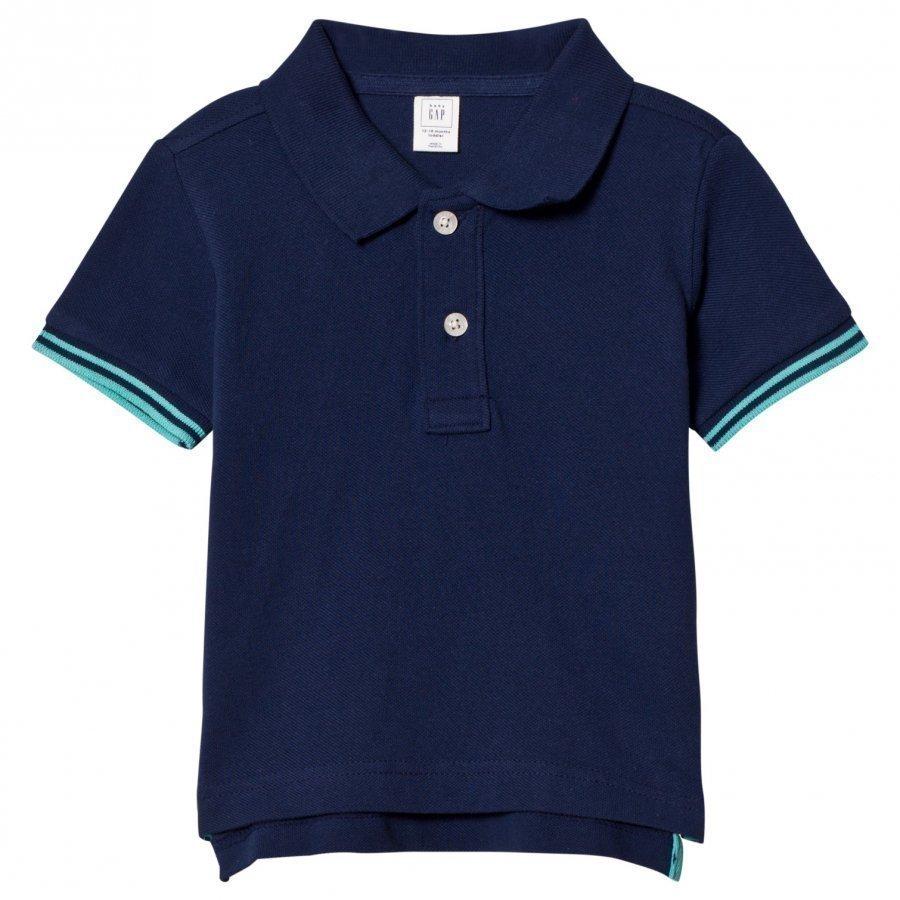 Gap Stripe Sleeve Pique Polo Elysian Blue Pikeepaita