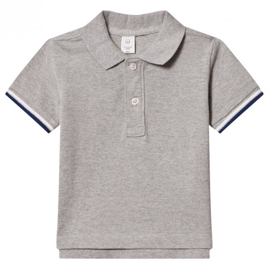 Gap Stripe Sleeve Pique Polo Heather Gray Pikeepaita