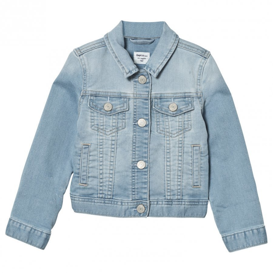 Gap Supersoft Knit Denim Jacket Light Wash Farkkutakki