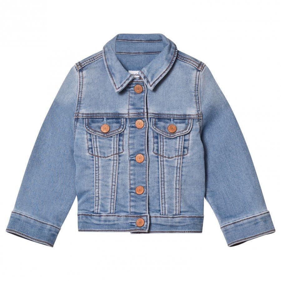 Gap Supersoft Knit Denim Jacket Medium Wash Farkkutakki