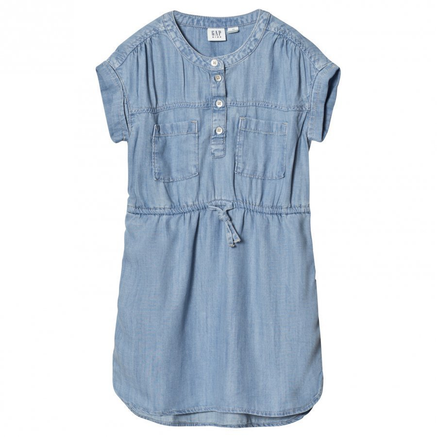 Gap Tencel Short Sleeve Shirtdress Denim Kauluspaita
