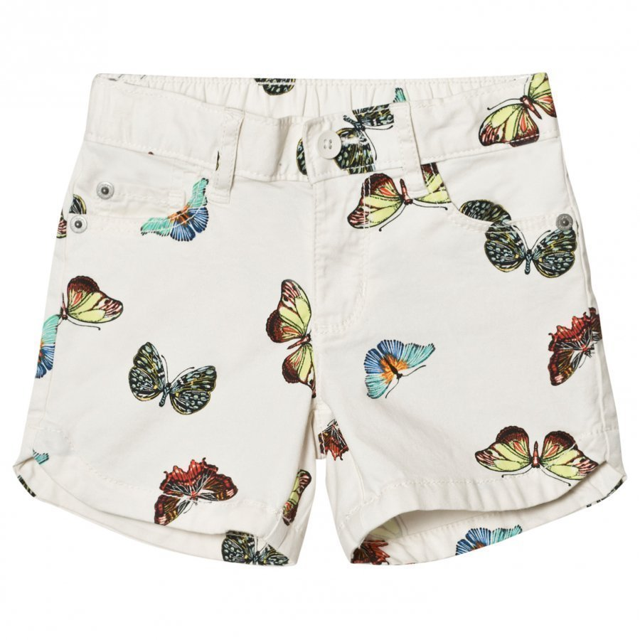 Gap Twill Midi Shorts White With Butterfly Juhlashortsit