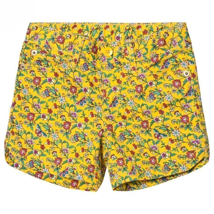 Gap Twill Midi Shorts Yellow Floral Juhlashortsit