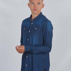 Garcia Shirt Ls Kauluspaita Sininen