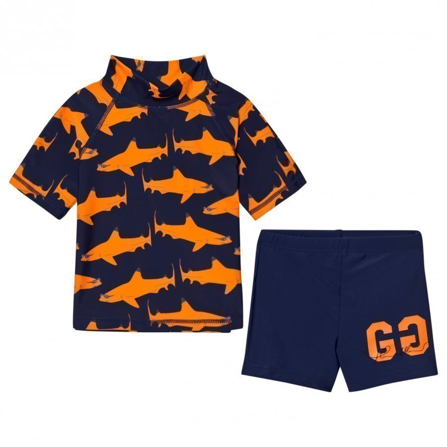 Gardner And The Gang Two Piece Uv Suit Orange Shark Aurinkopuku