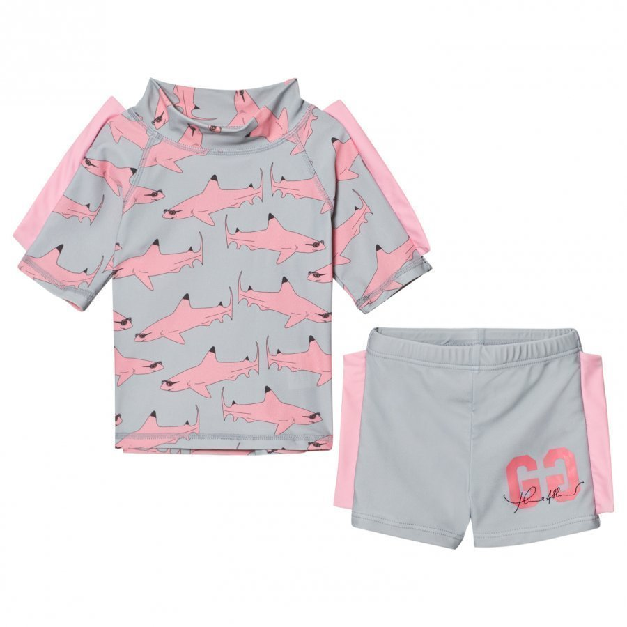 Gardner And The Gang Two Piece Uv Suit Pink Shark Aurinkopuku