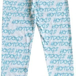 Gardner and the gang Leggingsit Hotdogs repeat turquoise Grey