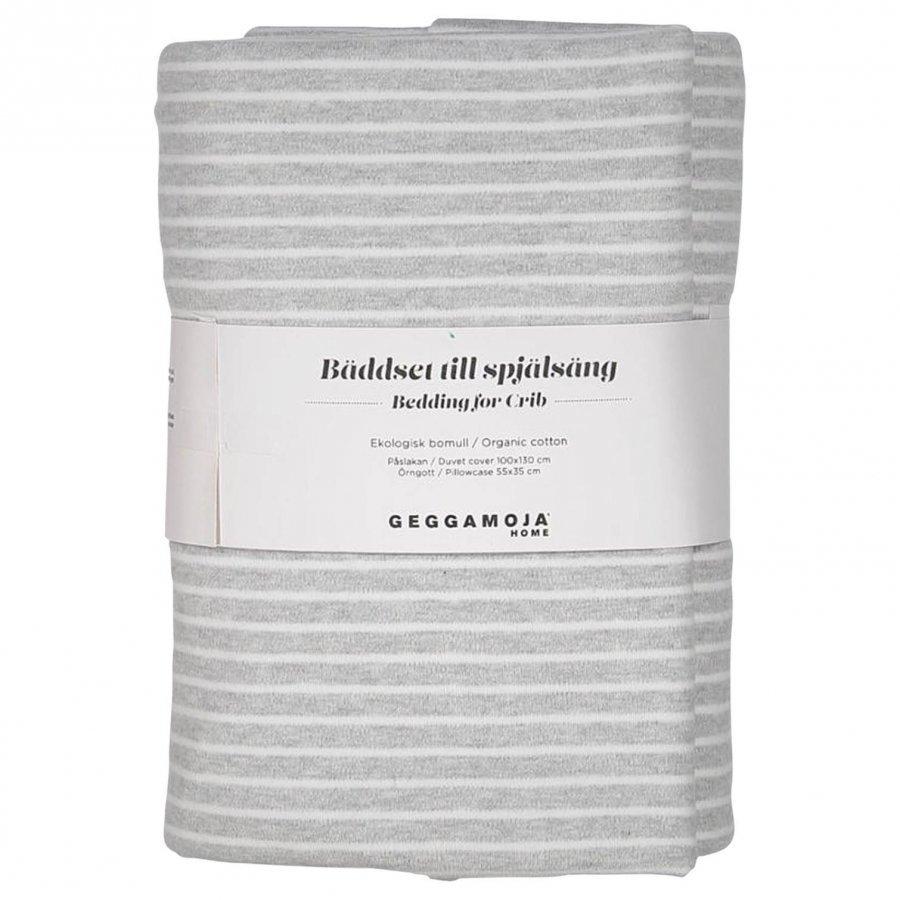 Geggamoja Classic Crib Bedding Light Grey Melange/White Vuodesetti