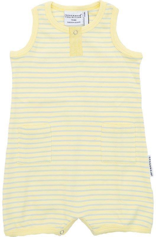 Geggamoja Hihaton puku Vauvan Raidallinen Yellow/Grey