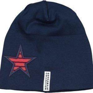 Geggamoja Pipo fleecevuorilla Star Cap Punainen/Tummansininen