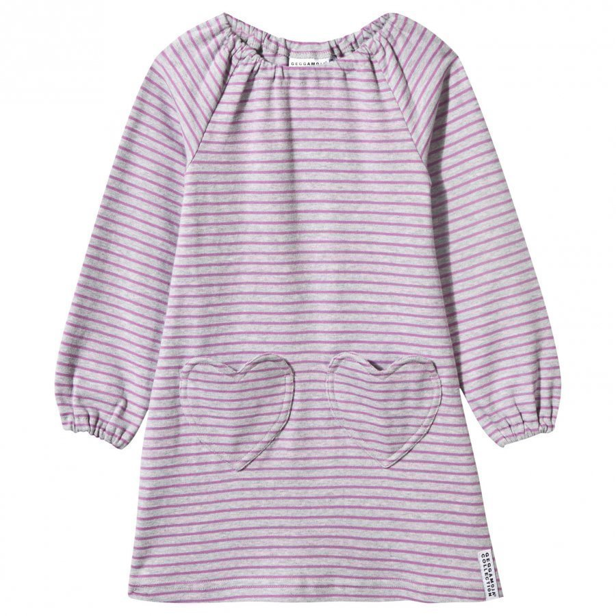 Geggamoja Singoalla Dress Light Grey Mel/Lilac Mekko