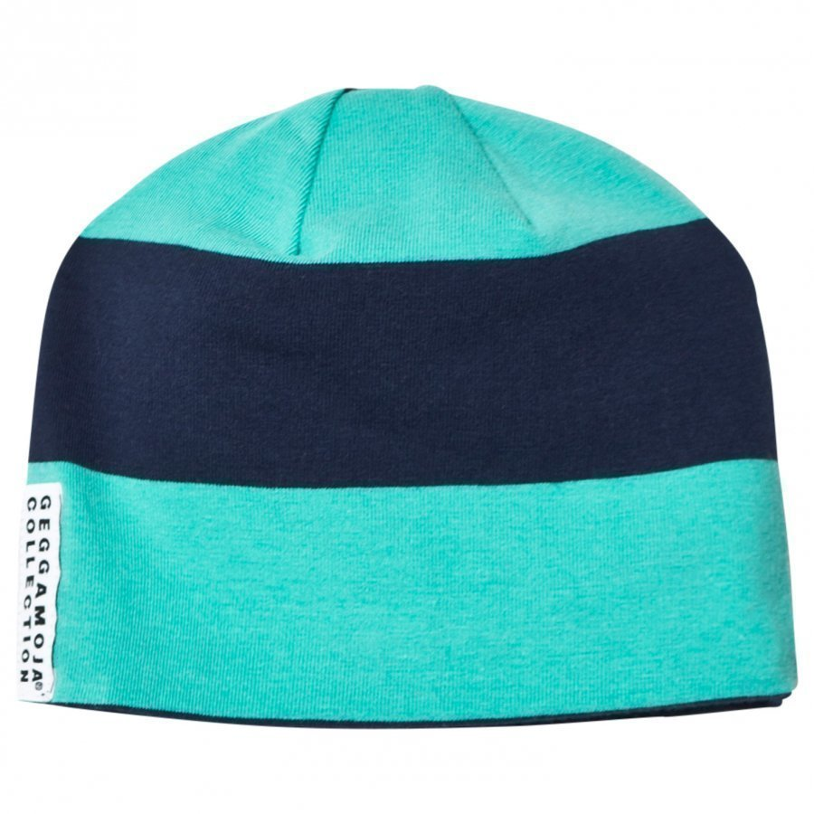 Geggamoja Wide Striped Cap Greenturq/Marine Pipo