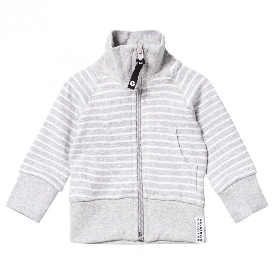 Geggamoja Zip Sweater Classic Light Grey Mel/White Oloasun Paita