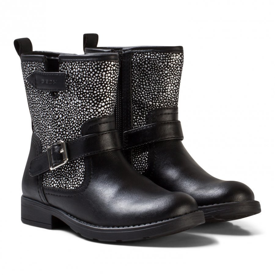 Geox Black Jr Sofia Leather And Studded Boots Vauvan Tossut
