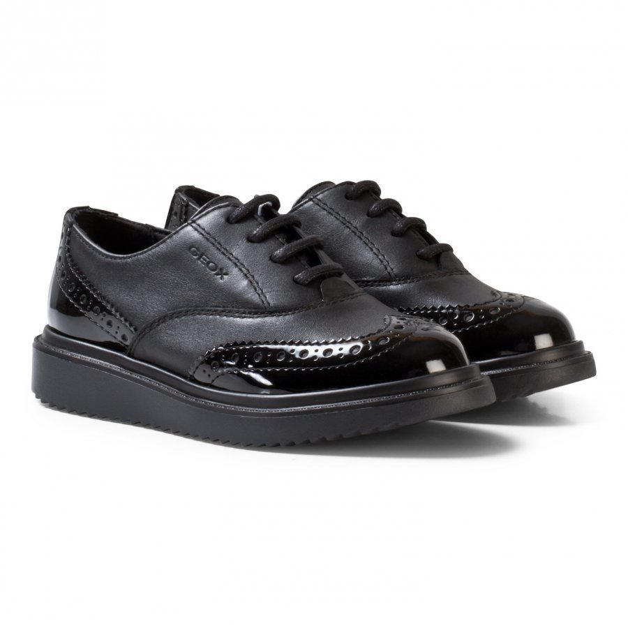 Geox Black Leather And Patent Jr Thymar Brogue Shoes Brogue Kengät