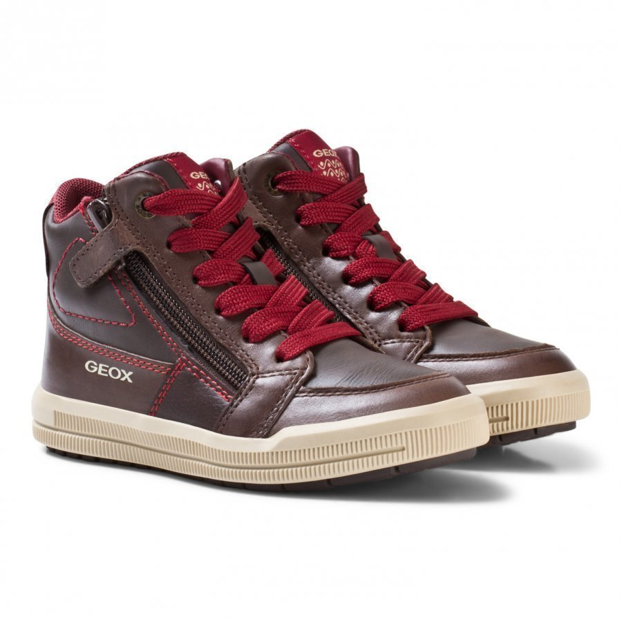 Geox Jr Arzach Nappa Leather Sneakers Brown Korkeavartiset Kengät