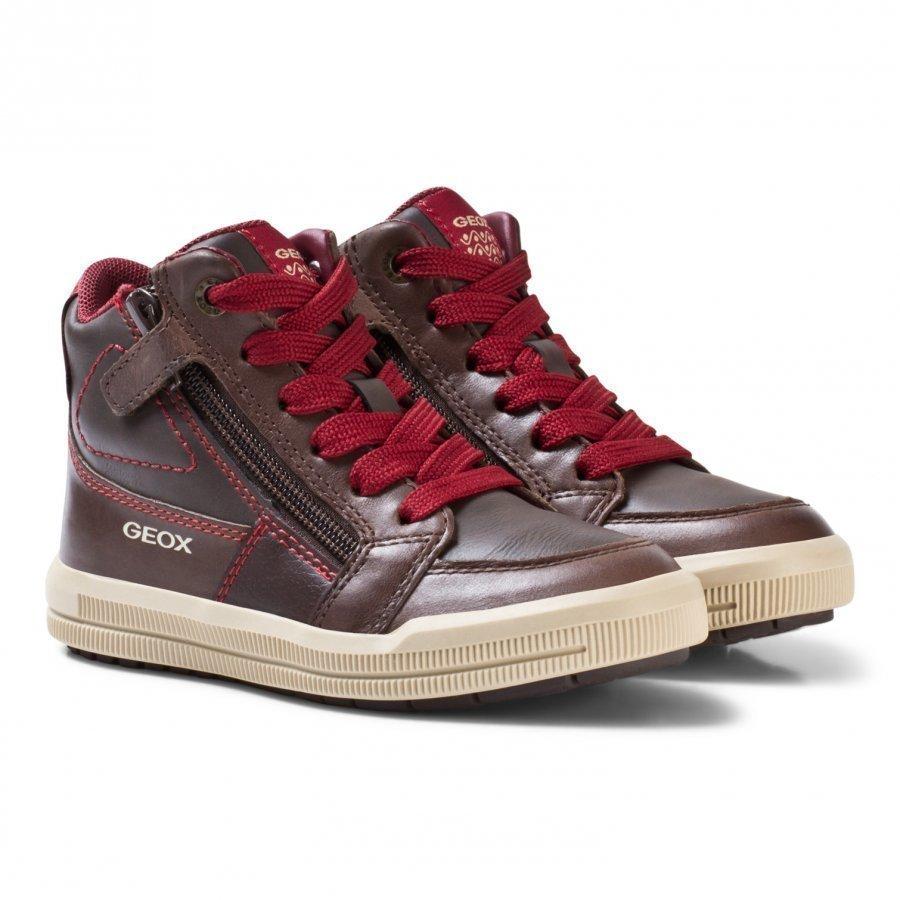 Geox Jr Arzach Nappa Leather Sneakers Brown Korkeavartiset Kengät