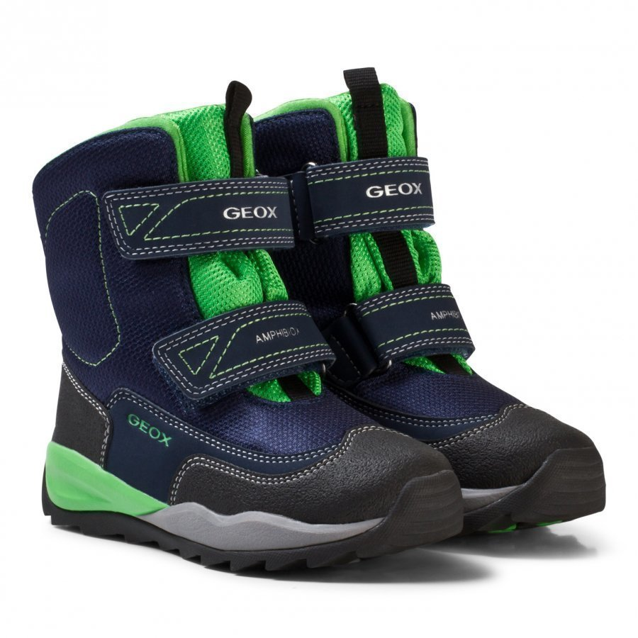 Geox Navy And Lime Branded High Orizont Snow Boots Talvisaappaat