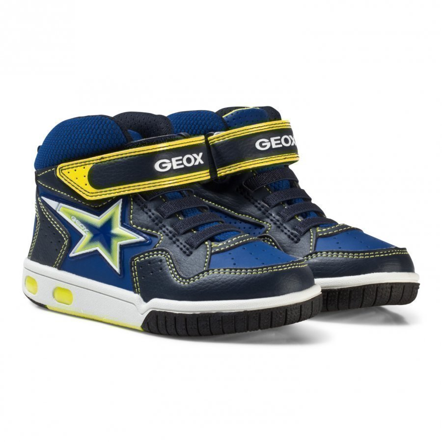 Geox Navy And Lime Junior Gregg Light Up Hi Top Trainers Korkeavartiset Kengät