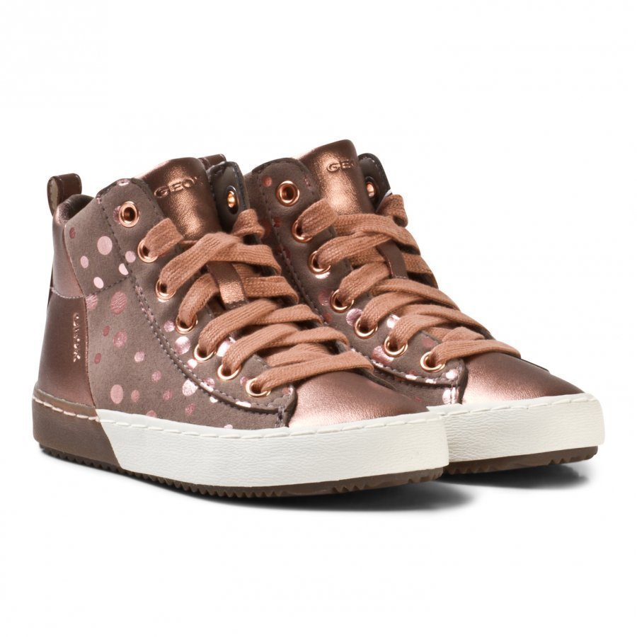 Geox Rose Gold Spot Jr Kalispera Lace And Zip Trainers Korkeavartiset Kengät