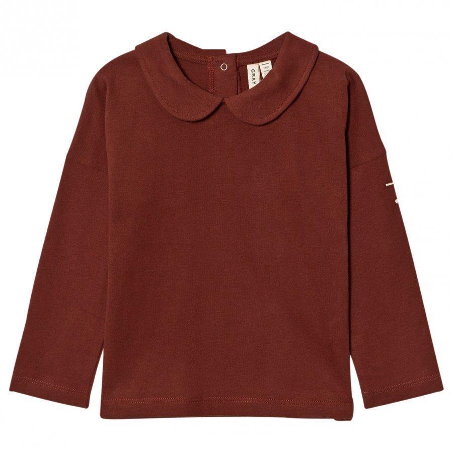 Gray Label Collar Long Sleeve Tee Burgundy Pitkähihainen T-Paita
