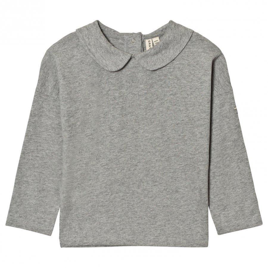 Gray Label Collar Long Sleeve Tee Grey Melange Pitkähihainen T-Paita