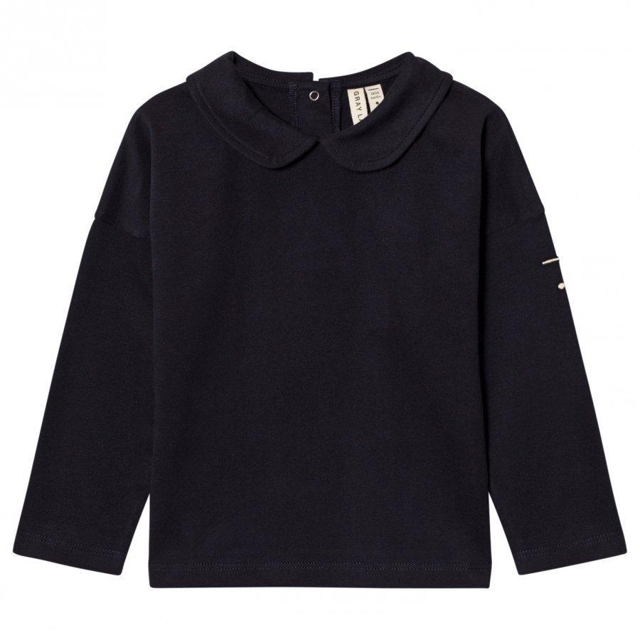 Gray Label Collar Long Sleeve Tee Night Blue Pitkähihainen T-Paita