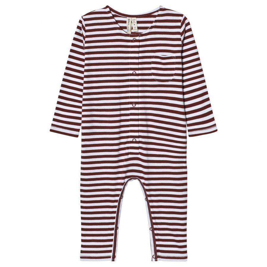 Gray Label Long Sleeve Playsuit Burgundy/White Stripes Potkupuku