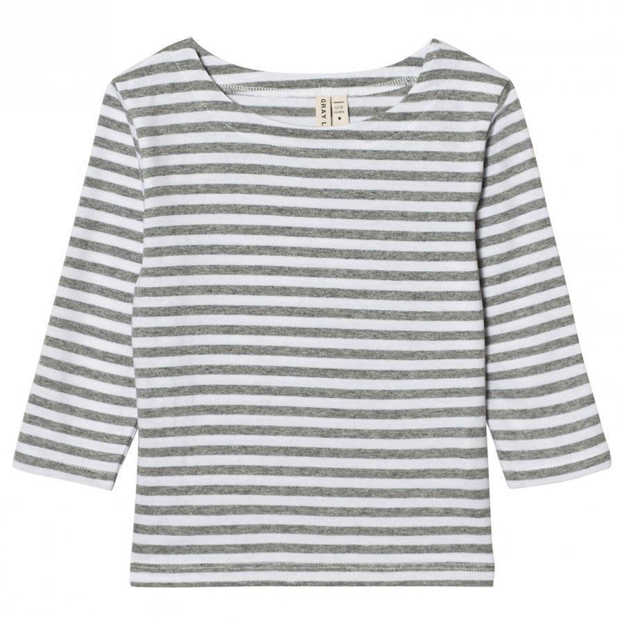 Gray Label Long Sleeve Striped Tee Grey Melange/White Stripes Pitkähihainen T-Paita