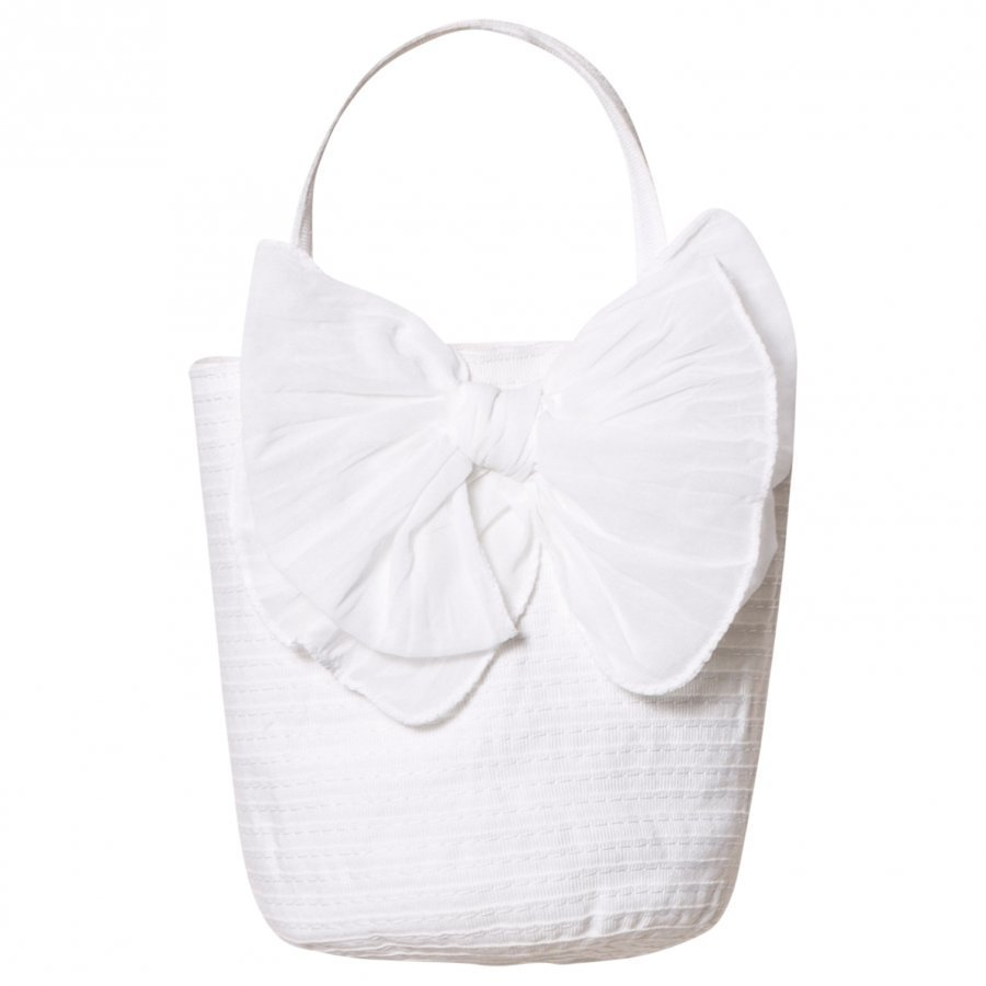 Grevi White Tiered Handbag With Bow Käsilaukku