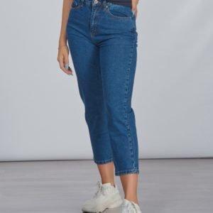 Grunt Mom Straight Leg Croped Jeans Farkut Sininen