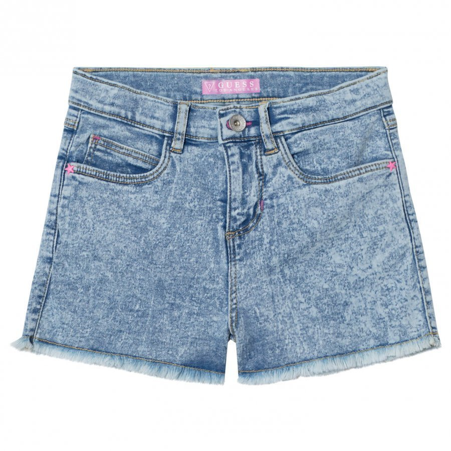 Guess Acid Wash Denim Shorts With Frayed Edge Farkkushortsit
