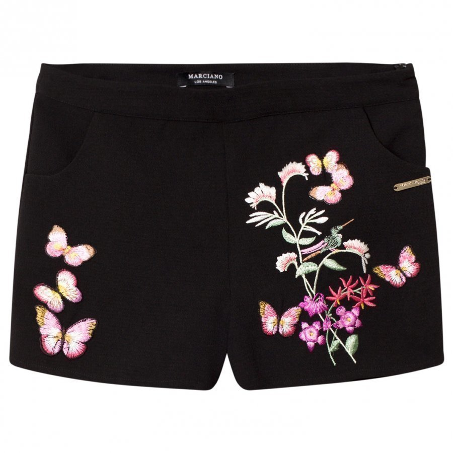 Guess Black Floral Embroidered Shorts Juhlashortsit