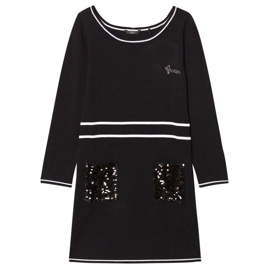 Guess Black Knit Dress Sequin Pocket Mekko